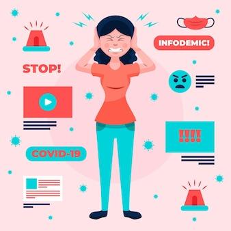 Mujer enojada por el concepto de infodemia