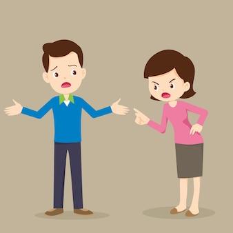 Mujer enojada regaña a personajes masculinos. marido y mujer peleando. los padres se pelean