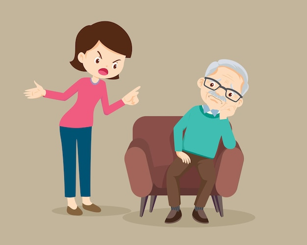 Mujer enojada regañando a anciano sentado en el sofá