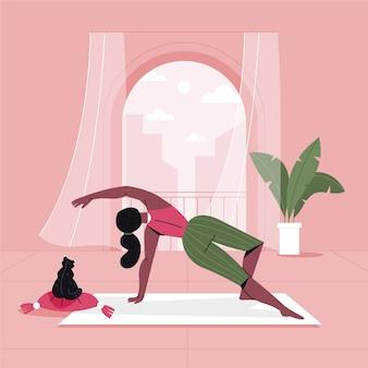 Mujer entrenando en casa sola ilustrada