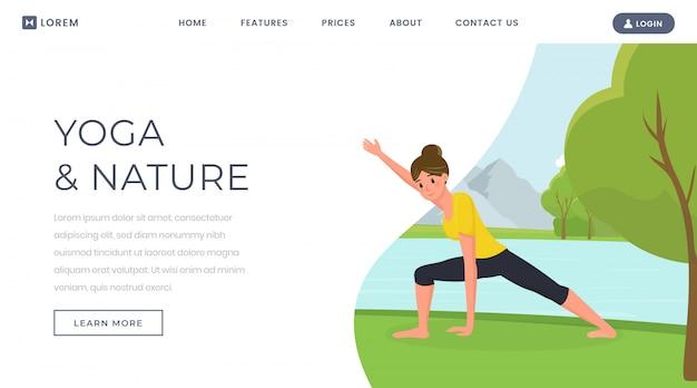 Mujer entrenando cuerpo en sitio web de naturaleza