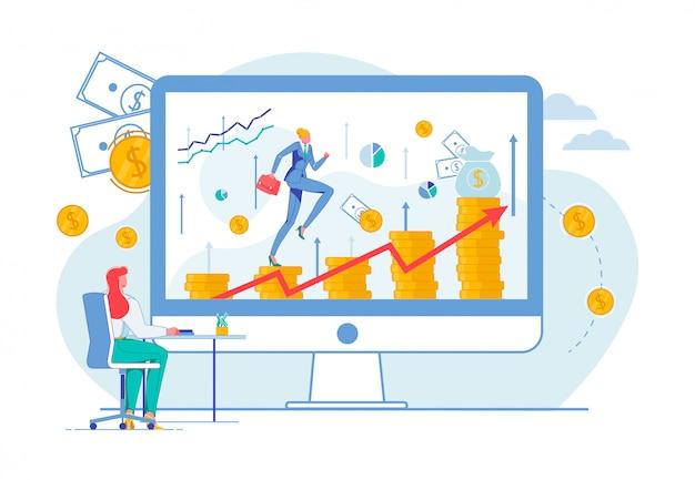 Mujer escalando monedas, logrando el éxito en el trabajo.