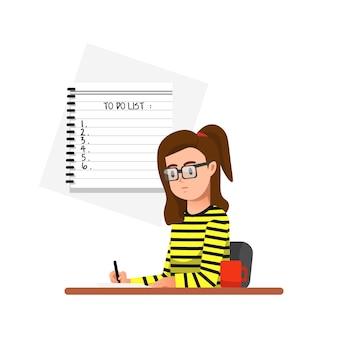 Una mujer escribe planes