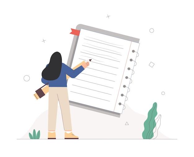 Mujer escribiendo en un cuaderno tomar notas con un lápiz gigante