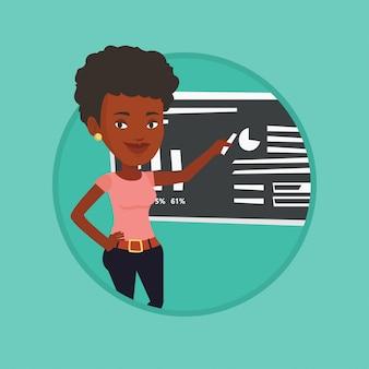Mujer escribiendo en una ilustración de vector de pizarra.