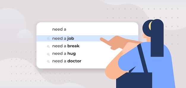 Mujer escribiendo necesita un trabajo en la barra de búsqueda en la pantalla virtual