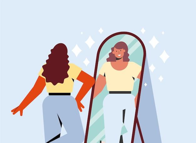 Mujer, y, espejo, amor propio