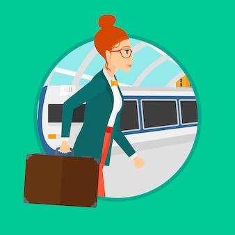 Mujer en la estación de tren.