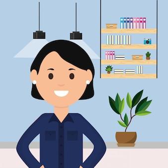 Mujer, estante de trabajo profesional, libros, planta, y, lámparas de techo, ilustración