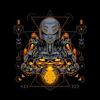 Mujer estilo cyborg robótico geometría sagrada