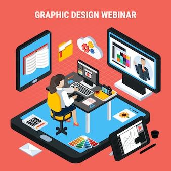 Mujer estudiando en casa viendo webinar de diseño gráfico 3d concepto isométrico ilustración vectorial