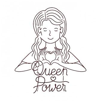 Mujer con etiqueta reina poder avatar personaje