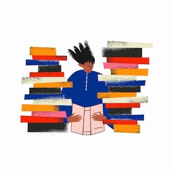 Mujer étnica lee un libro junto a una pila de libros