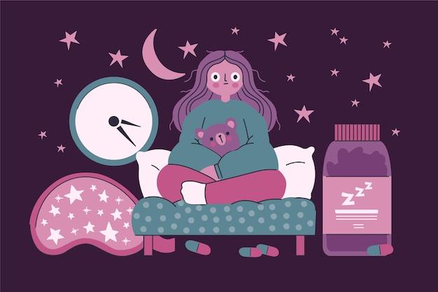 Mujer experimentando insomnio concepto