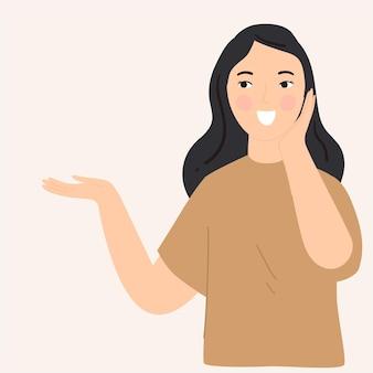 Mujer en expresión emocionada ilustración plana