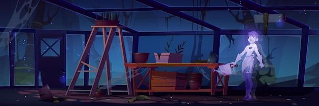 Mujer fantasma cuida plantas en invernadero por la noche