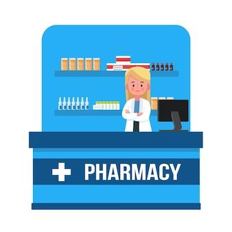 Mujer farmacéutica en farmacia. ilustración vectorial concepto de farmacia, diseño de estilo plano de dibujos animados, medicina, salud