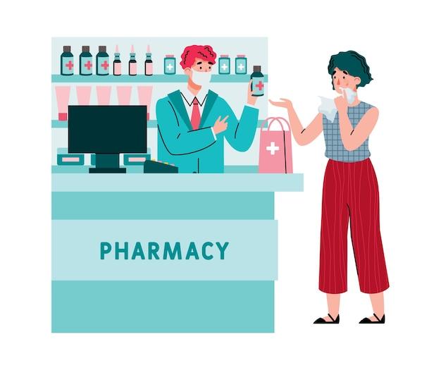 Mujer farmacéutica con secreción nasal y medicamentos para el virus de la gripe.