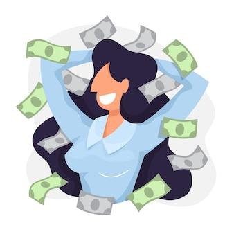 Mujer feliz alrededor de billetes de papel de dinero. idea de rico