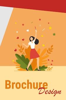 Mujer feliz aprendiendo sobre su embarazo. chica sosteniendo la ilustración de vector plano de prueba de embarazo positiva. concepto de maternidad, planificación, atención prenatal para banner, diseño de sitio web o página web de destino