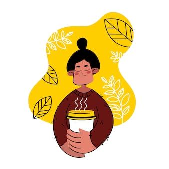 La mujer feliz está bebiendo café o té. relajarse concepto. chica con una taza en sus manos
