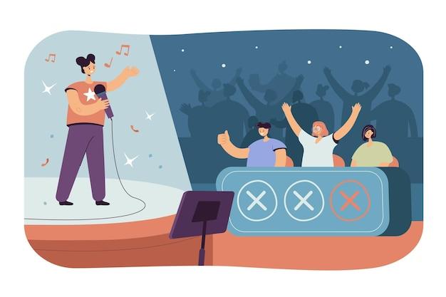 Mujer feliz cantando en el programa de talentos de televisión frente a celebridades del jurado aisladas ilustración plana