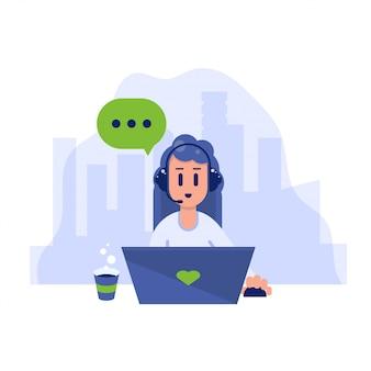 Mujer feliz con una computadora portátil. trabajador independiente ocupado hablando. ilustración moderna de estilo plano.