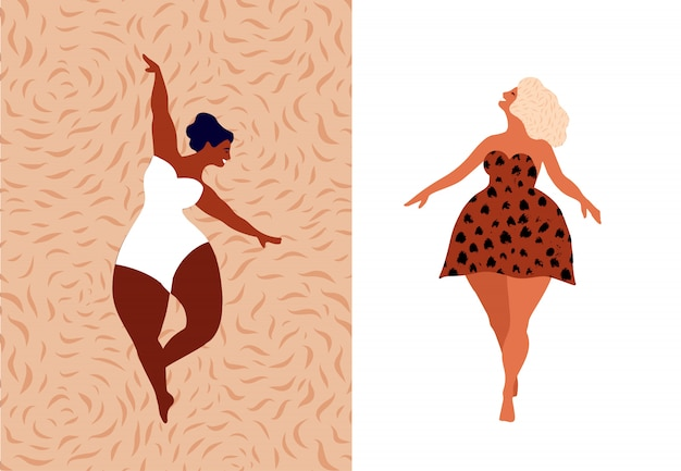 Mujer feliz cuerpo positivo, ámate a ti mismo, tu concepto corporal. libertad femenina, poder femenino o ilustración del día internacional de la mujer.