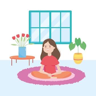 Mujer feliz de dibujos animados sentada en la alfombra en la sala de estar