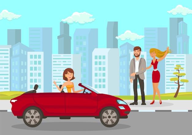 Mujer feliz se encuentra con amigos ilustración vectorial plana