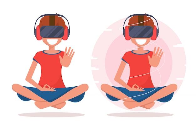 Una mujer feliz con gafas de realidad virtual y auriculares sentado en postura de loto.