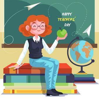 Mujer feliz ilustrada enseñando