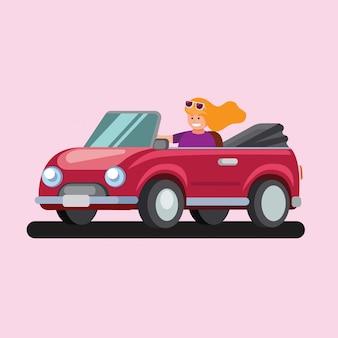 Mujer feliz joven que conduce el concepto del ejemplo plano del coche descapotable