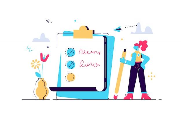 Mujer feliz que se coloca al lado de la lista de verificación gigante y de la pluma de tenencia. concepto de finalización exitosa de tareas, planificación diaria efectiva y gestión del tiempo. ilustración de vector de estilo de dibujos animados plana.