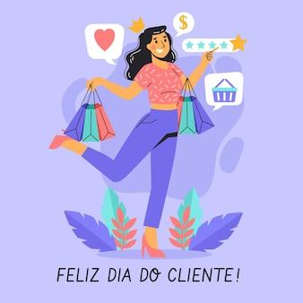 Mujer feliz que sostiene bolsos de compras día del cliente