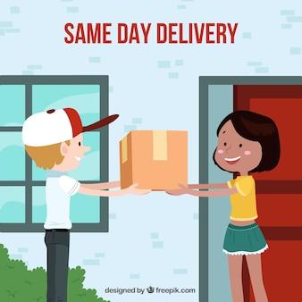 Mujer feliz recibiendo una caja en casa