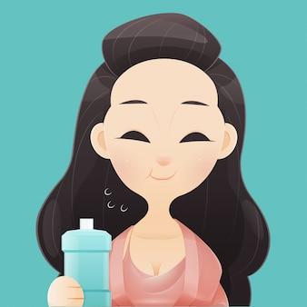Mujer feliz sana enjuagar y hacer gárgaras mientras usa enjuague bucal de un vaso. durante la rutina diaria de higiene oral. concepto de salud dental e ilustración