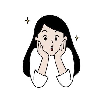 Mujer feliz sorprendida, expresión asombrada, ilustración de vector de estilo dibujado a mano.