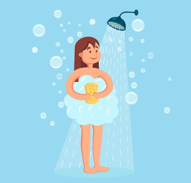 Mujer feliz tomando ducha en el baño. lave la cabeza, el cabello, el cuerpo y la piel con champú, jabón, esponja y agua. higiene, rutina diaria, relax