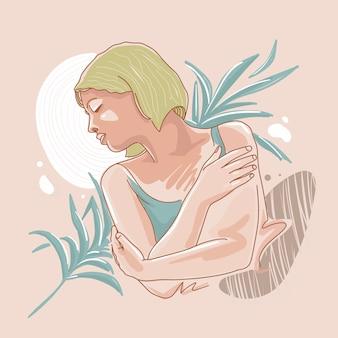 Mujer figura arte de línea cabello rubio