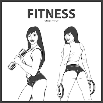 Mujer fitness en dos poses diferentes.