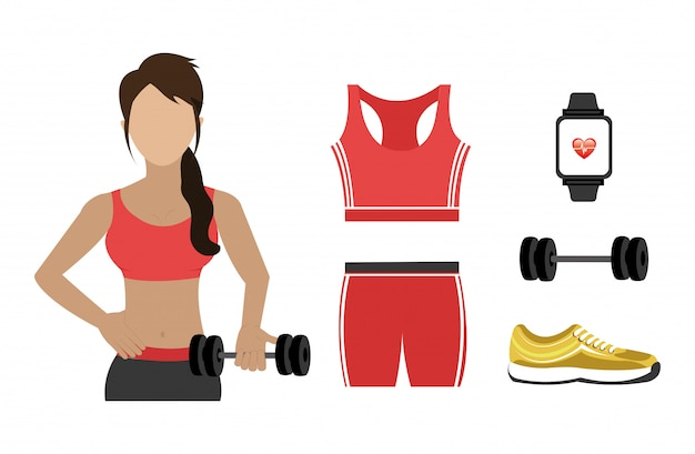 Mujer con fitness set iconos