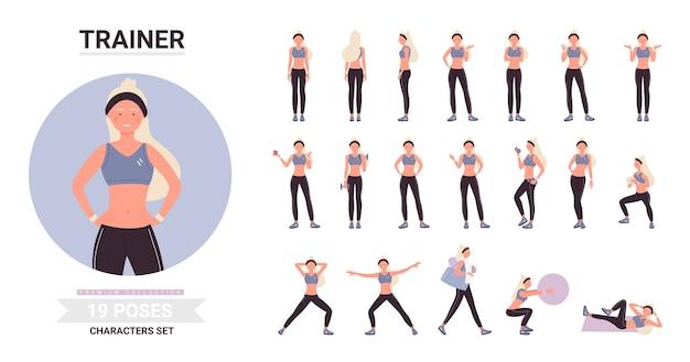 Mujer de fitness trainer posa en conjunto de dibujos animados de entrenamiento, entrenamiento de personaje rubio con pelota, pesas