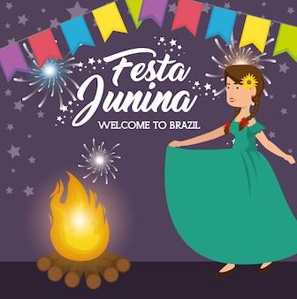 Mujer de fuego y baile con la bandera festiva ilustración de vector de diseño de fiesta junina