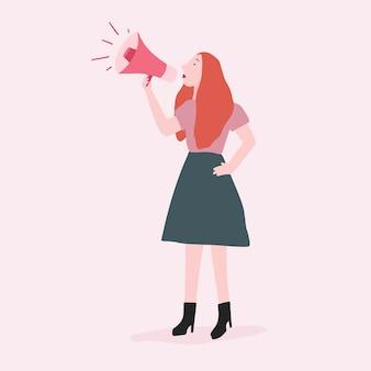 Mujer fuerte gritando su mensaje vectorial
