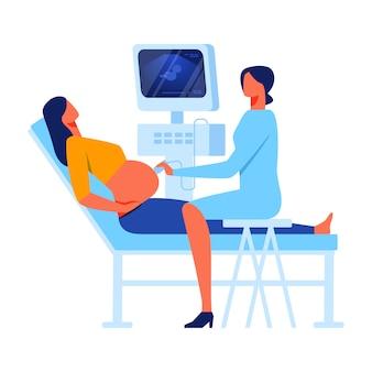 Mujer en gabinete de medicina de diagnóstico y detección