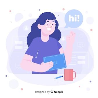 Mujer con gafas para el concepto de bienvenida para la página de inicio