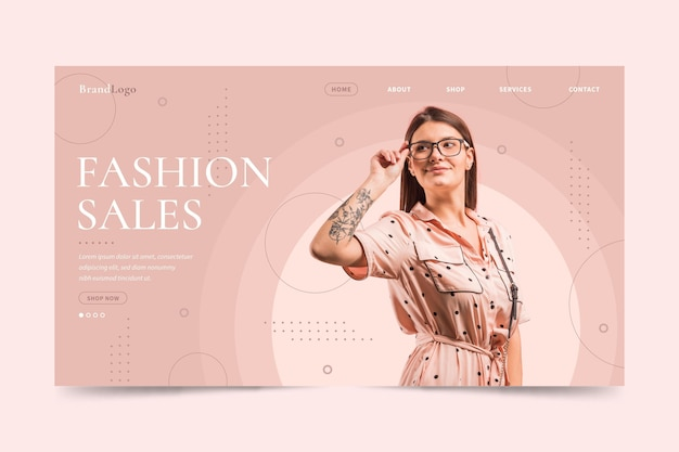 Mujer con gafas de lectura moda página de inicio de venta