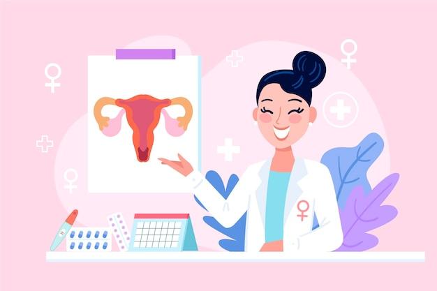 Mujer ginecóloga con elementos médicos ilustrados