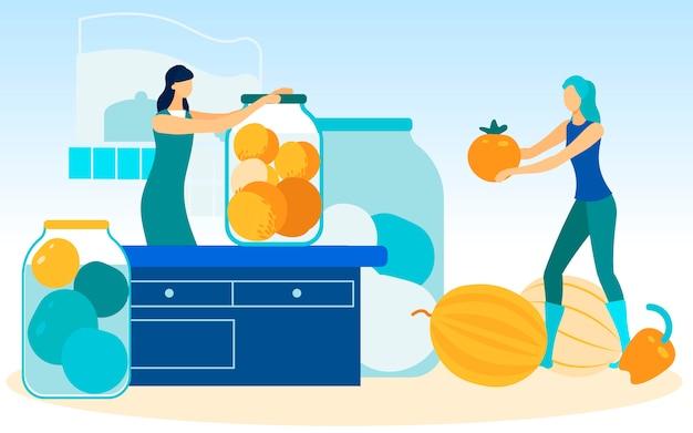 Mujer gira tarro sobre mesa mujer con tomate en mano